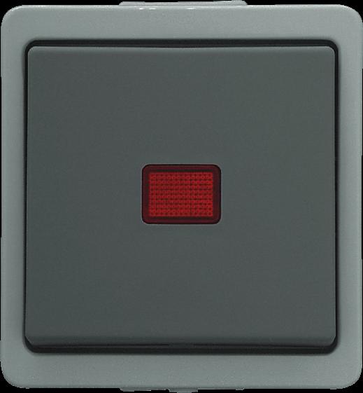 Presto Vedder Universal Aufputz Kontrollschalter Aus-/Wechsel grau 93966