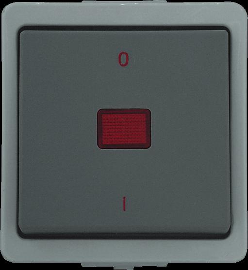 Presto Vedder Aufputz Kontrollschalter 2-polig grau 93962