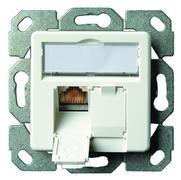 Telegärtner Netzwerkdose 2-Fach m.Zentralplatte Perlweiß, Cat6 AMJ45 J00020A0501
